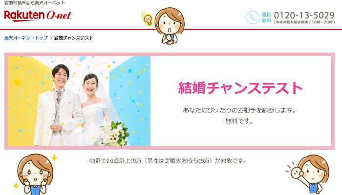 楽天オーネットの結婚チャンステスト